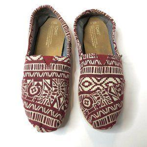 Toms Womens 8.5 Red Tribal Aztec Slip On Flat Shoe